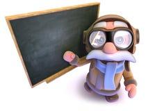 3d kreskówki linii lotniczej pilota charakteru Śmieszna pozycja przy blackboard Zdjęcia Stock