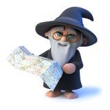 3d kreskówki magika czarownika Śmieszny charakter żegluje z mapą Zdjęcie Royalty Free