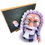 3d kreskówki sędziego charakteru Śmieszna pozycja przed blackboard Obrazy Royalty Free