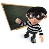 3d kreskówki włamywacza złodzieja Śmieszny nauczanie przy blackboard Obrazy Royalty Free
