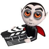 3d kreskówki wampira Dracula Śmieszny charakter trzyma filmu producenta filmu łupek ilustracja wektor