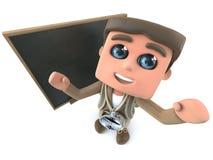 3d kreskówki wycieczkowicza badacza Śmieszna pozycja przed blackboard royalty ilustracja