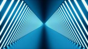 3D kretsade animeringen, den s?ml?sa abstrakta futuristiska bl?a rumkorridoren, tunnel med neonljus ljus ton f?r bl?a lysr?r stock video