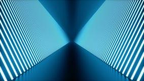 3D kretsade animeringen, den s?ml?sa abstrakta futuristiska bl?a rumkorridoren, tunnel med neonljus ljus ton f?r bl?a lysr?r arkivfilmer