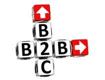 3D Kruiswoordraadsel van B2B B2C Stock Afbeelding