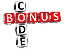 3D Kruiswoordraadsel van de Bonuscode Stock Foto