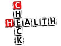 3D Kruiswoordraadsel van de Controlegezondheid op witte achtergrond Stock Foto