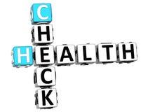 3D Kruiswoordraadsel van de Controlegezondheid op witte achtergrond Stock Afbeelding