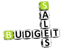 3D Kruiswoordraadsel van de Verkoopbegroting Stock Afbeeldingen