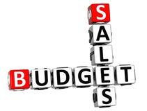3D Kruiswoordraadsel van de Verkoopbegroting Stock Fotografie