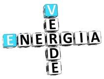 3D Kruiswoordraadsel van Energia Verde Royalty-vrije Stock Afbeeldingen
