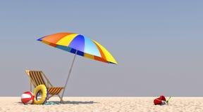 3D krzesła Ilustracyjny parasol na plaży Obrazy Stock