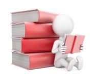 3d książki mężczyzna czytanie Zdjęcie Stock
