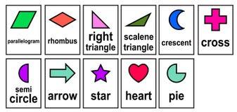 2D kształta słowa 2D geometryczne wzorcowe karty dla dzieciaka i dziecina ustalonego wektoru royalty ilustracja
