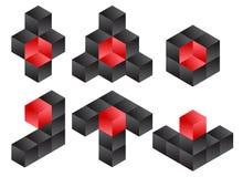 3d kub Logo Icon Design Set, vektorillustration Arkivfoton