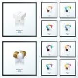 3D Kubus abstract ontwerp 10 kleurenstijl Stock Afbeeldingen