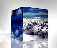 3d kubus betrekt van de aard blauwe zonsopgang illustratie als achtergrond Stock Afbeelding