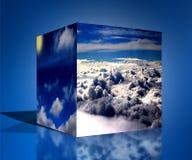 3d kubus betrekt van de aard blauwe zonsopgang illustratie als achtergrond Stock Afbeeldingen