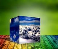 3d kubus betrekt van de aard blauwe zonsopgang illustratie als achtergrond Stock Foto