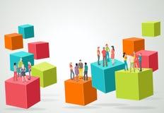 3d kubussen met bedrijfsmensen Stock Fotografie