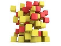 3D Kubussenblok Op witte achtergrond Stock Foto