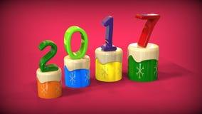 3d Kuchen des guten Rutsch ins Neue Jahr 2017 Stockfotos