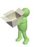 3d kukła z rozpieczętowanym pudełkiem Obraz Royalty Free
