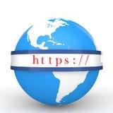 3d kuli ziemskiej i bezpiecznie sieci komunikacyjny protokół Obraz Royalty Free