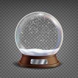 3d kuli ziemskiej Klasyczny Śnieżny wektor Szklana sfera Z świeceniami I Gighlights Odizolowywający Na Przejrzystej tło ilustraci Fotografia Stock