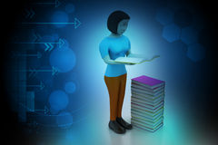 3d kvinnor läsebok, utbildningsbegrepp Arkivbilder