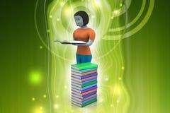 3d kvinnor läsebok, utbildningsbegrepp Arkivfoton