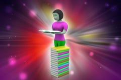 3d kvinnor läsebok, utbildningsbegrepp Arkivbild