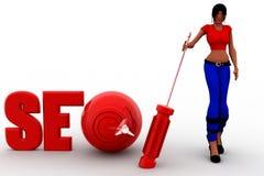 3d kvinnor SEO Optimization Concept Royaltyfria Foton