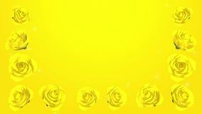 3D Kwitnie Żółte róże obramiają, Połyskują, tło zbiory