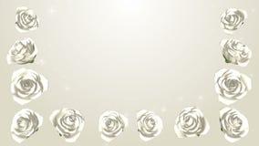 3D Kwitnie Białe róże obramiają, Połyskują, tło zdjęcie wideo