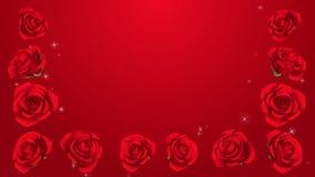 3D Kwitnie Czerwone róże obramiają, Połyskują, tło zbiory wideo