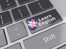 3d lär engelska på datortangentbordet books isolerat gammalt för begrepp utbildning Royaltyfri Fotografi