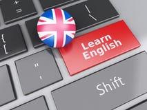 3d lär engelska på datortangentbordet books isolerat gammalt för begrepp utbildning Royaltyfria Foton