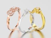 3D l'illustrazione tre differente è aumentato, oro bianco e di giallo o s Immagine Stock