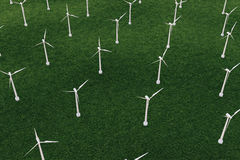 3d l'iluustration, turbine dans le domaine, vert, turbine de vent, se produisent, puissance d'eco énergie favorable à l'environne Photos libres de droits