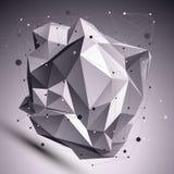 3D l'objet cybernétique abstrait déformé, lignes engrènent illustration stock