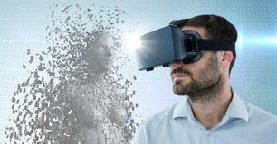 3D la femelle blanche AI et l'homme dans VR avec la fusée contre le bleu ont pointillé le fond Image stock