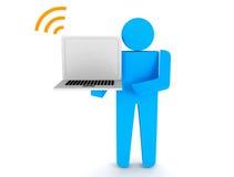 3d la gente - computer portatile umano della tenuta del carattere Fotografia Stock