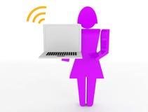 3d la gente - computer portatile umano della tenuta del carattere Immagini Stock Libere da Diritti