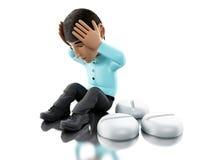 3d la gente con l'emicrania, pillole di bisogni illustrazione vettoriale