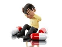 3d la gente con l'emicrania, pillole di bisogni royalty illustrazione gratis
