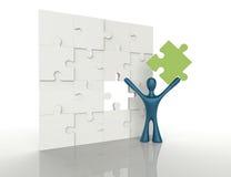3d la gente - uomo, persona con i pezzi di puzzle illustrazione vettoriale
