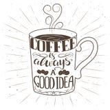 Dé la taza de café exhausta con el texto y los elementos decorativos Foto de archivo
