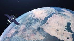 3D la terre, fond 4K de code binaire de goutte loopable illustration stock