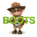 3d laarzen van de Jong geitjewandelaar Stock Fotografie